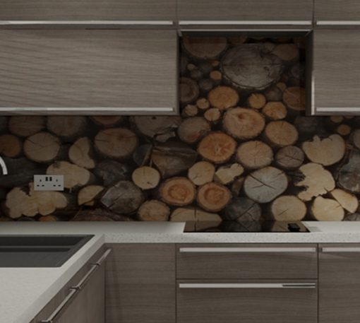 Kitchen Splash Back Made With Logs