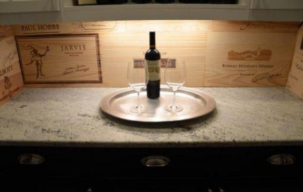Kitchen Splash Back Made With Wine Crates