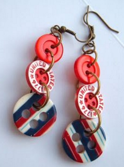 Clothes Buttons Recycled Into Earrings
