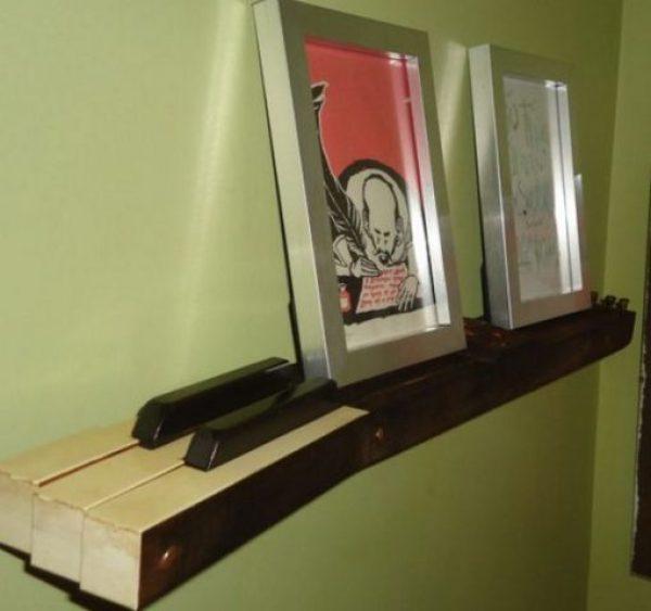 Piano Keys Used To Make Shelf