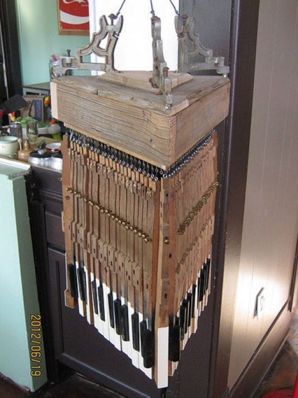 Piano Keys Used To Make Chandelier
