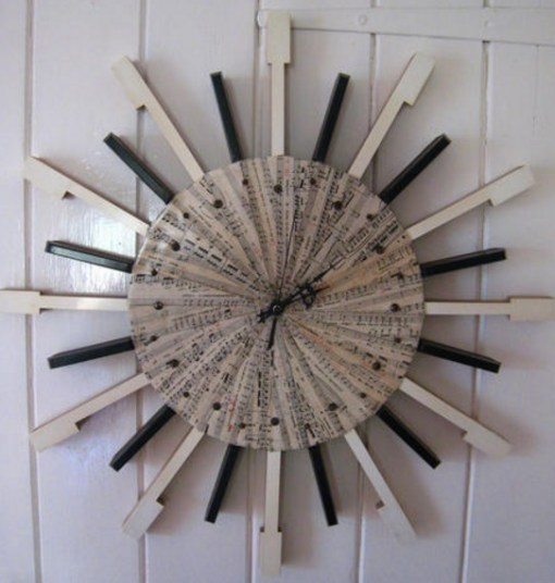 Piano Keys Used To Make Clock