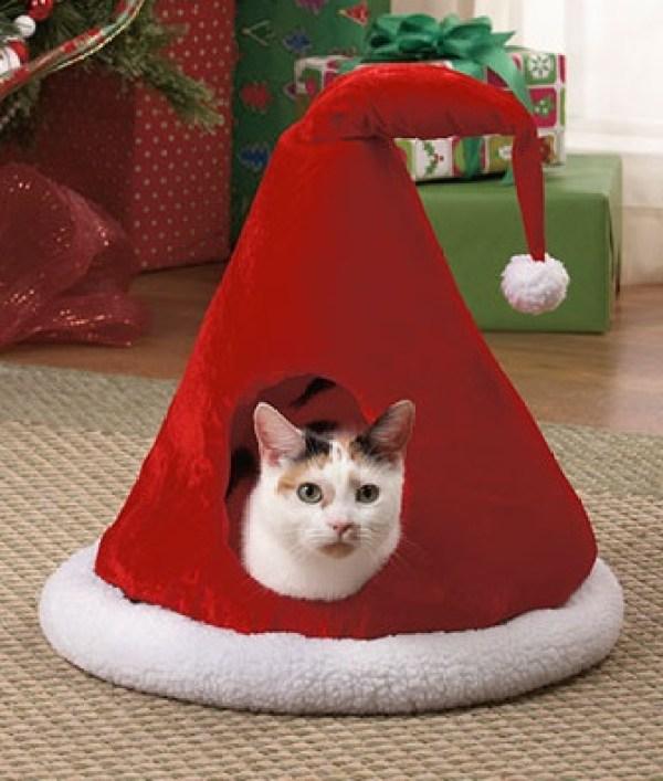 Santa Hat Cat House