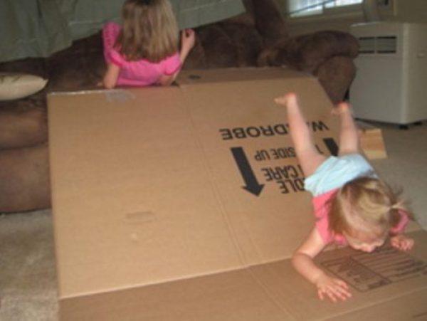 Cardboard Box Turned Into a Sofa Slide