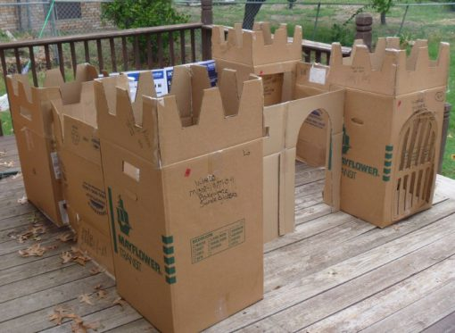 Cardboard Box Turned Into a Play Castle