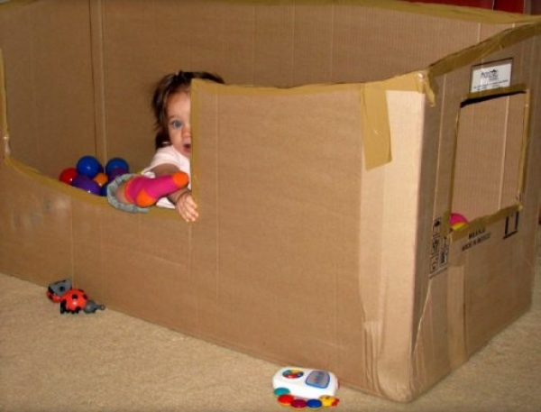 Cardboard Box Turned Into a Ball Pit