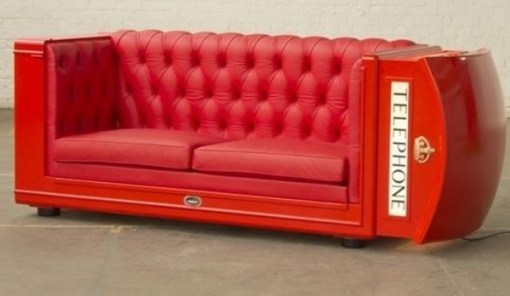 Sofa Made From a Repurposed Telephone Box