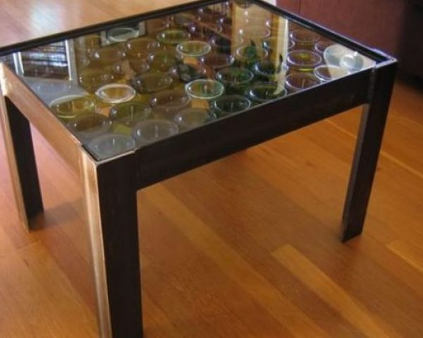 Display Coffee Table Made from a Champagne Bottles
