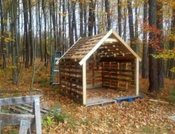 Old Wooden Pallets Transformed Into a Garden Shed