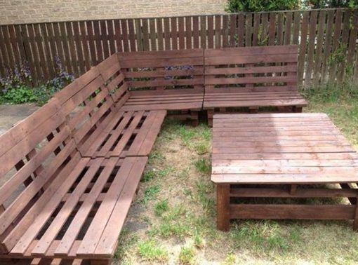 Old Wooden Pallets Transformed Into Garden Furniture