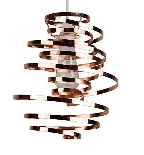 Contemporary Spiral Copper Ribbon Light Shade