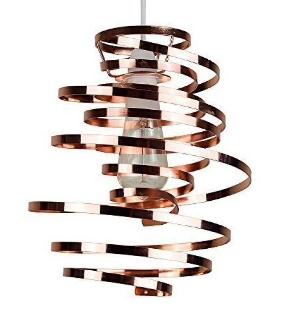 Contemporary Spiral Copper Ribbon Light Shade