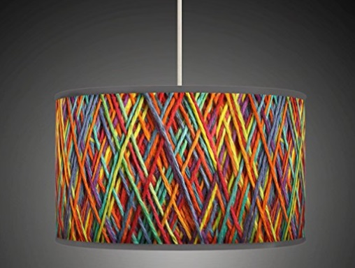 Multicoloured Woven Fabric Lamp Shade