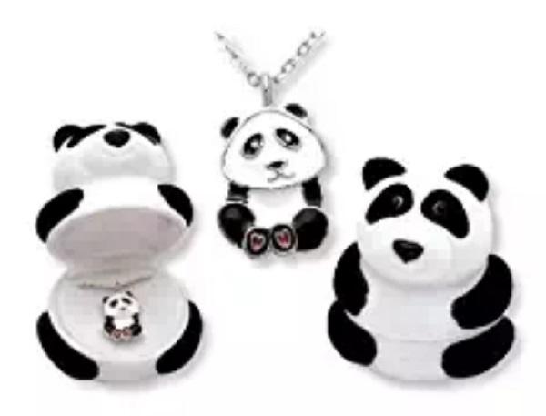 Panda Bear Pendant Necklace inside Panda shaped Gift Box