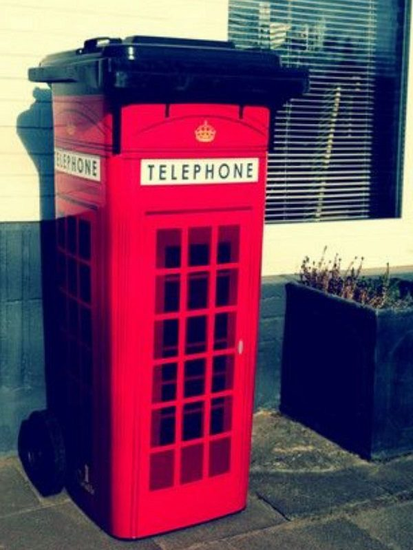 Red Telephone Box Wheelie Bin