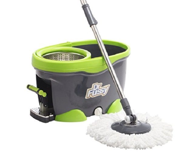 Dr Fussy Stainless Pedal Spin Mop and Bucket