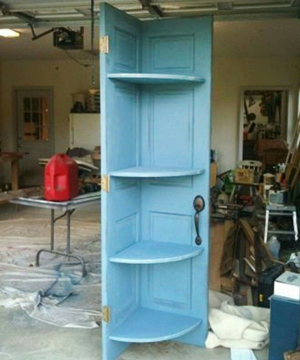 Old Doors Turned Into a Corner Shelved Unit