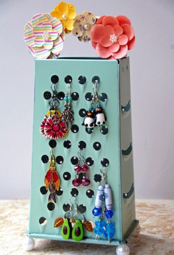 Cheese Grater Turned into an Earring Holder