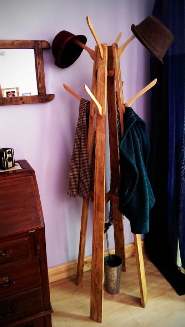 Old Clothes Hanger Used to Make a Coat and Hat Stand