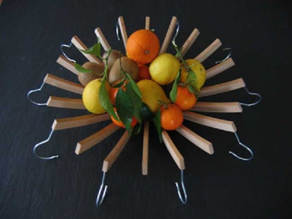 Old Clothes hanger Used to Make a Fruit Bowl