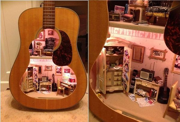 Old Guitar Turned Into a Dolls House