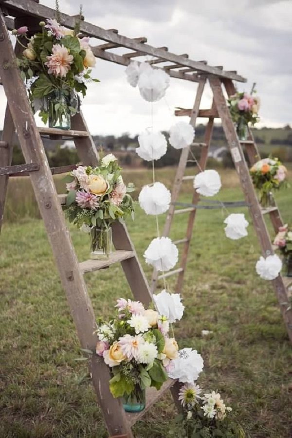 Old Wooden Ladder Used to Make a Wedding Ceremony Center