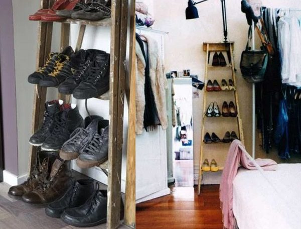 Old Wooden Ladder Used to Make a Shoe Rack