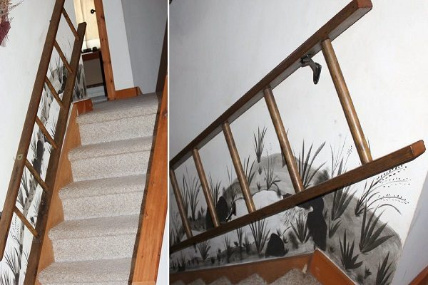Old Wooden Ladder Used to Make a Stair Handrail