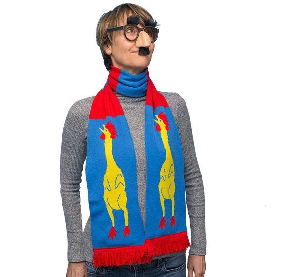 "71"" Soft-knit Acrylic Rubber Chicken Scarf"