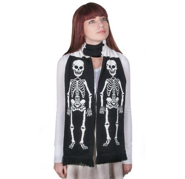 "71"" Soft-knit Acrylic Skeleton Scarf"