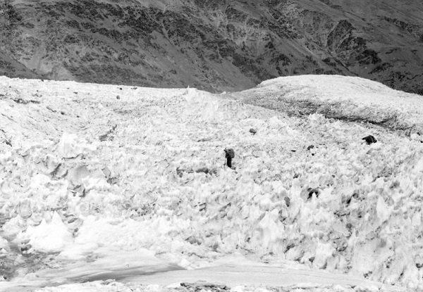 Fedchenko Glacier, Balandkiik River near the border with Kyrgyzstan