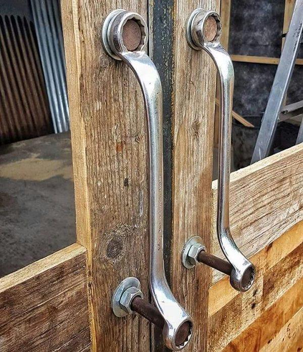 Spanners Turned Into Door Handles