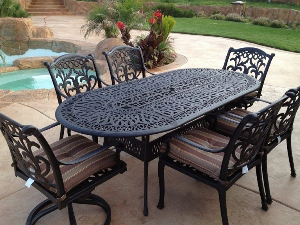 Plantation Wrought Iron 7 Piece Patio Set