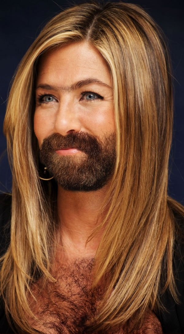 Jennifer Aniston with a Beard