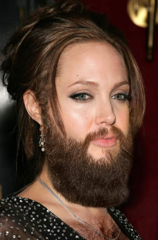 Angelina Jolie with a Beard