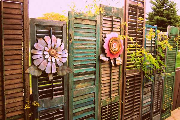 A Fence Made From Window Shutters