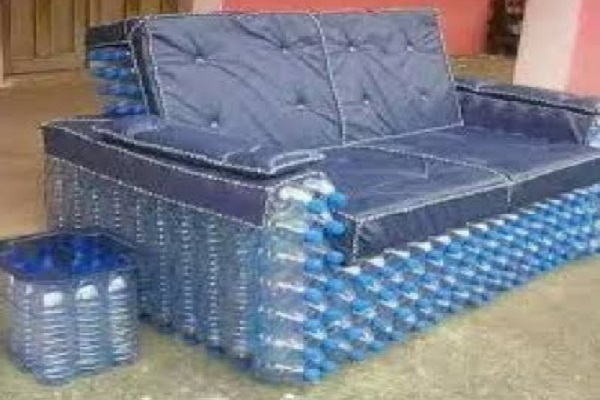 A Sofa Made From Plastic Bottles