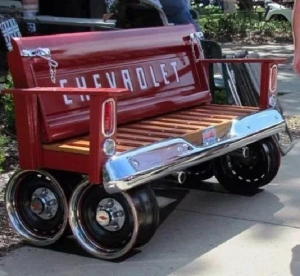 A Garden Bench Made From a Recycled Chevrolet Truck
