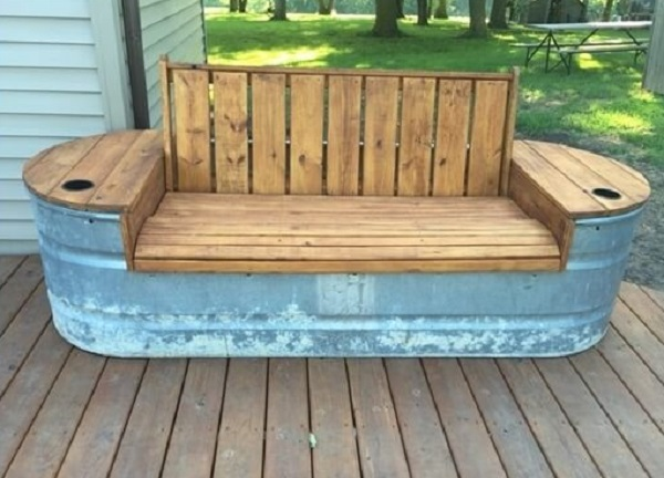 A Garden Bench Made From a Recycled Cattle Trough
