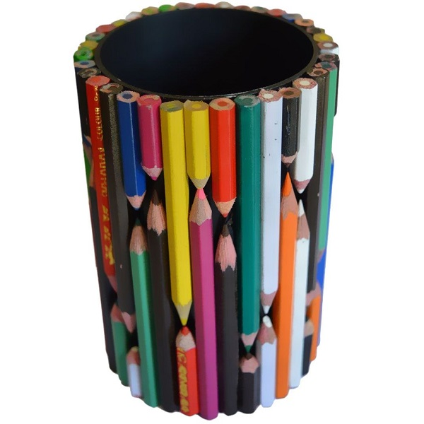 A Stationery Holder Made From Coloured Pencils