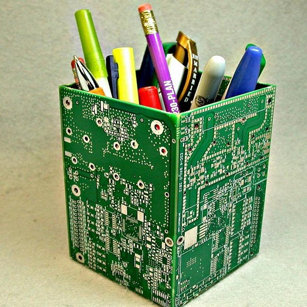 A Stationery Holder Made From Circuit Boards