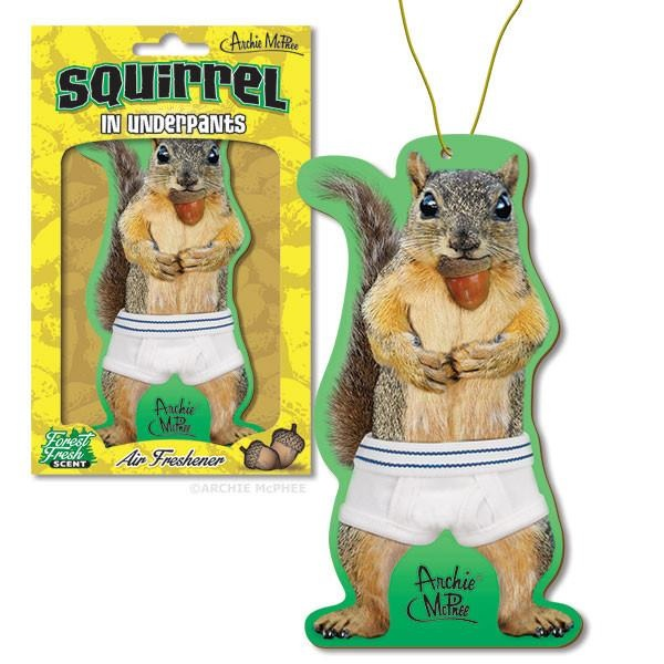 Squirrel in Underpants Car Air Freshener