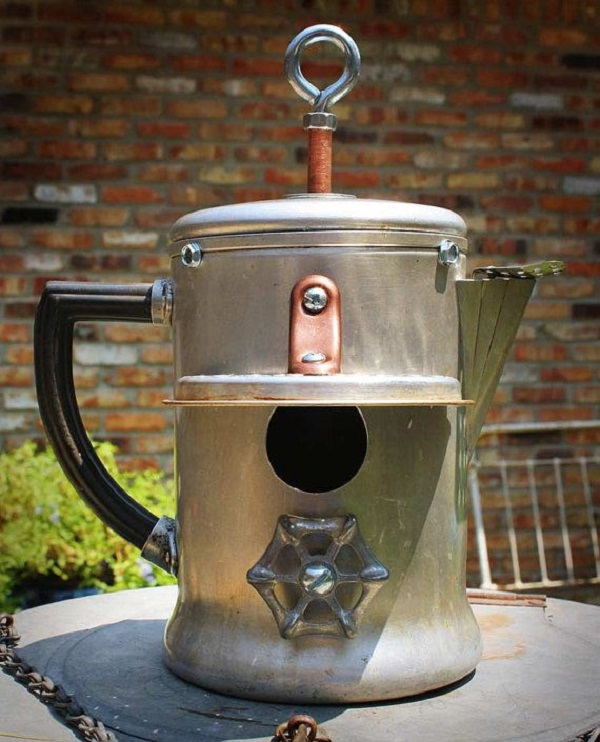 A Birdhouse Made From a Vintage Coffee Pot