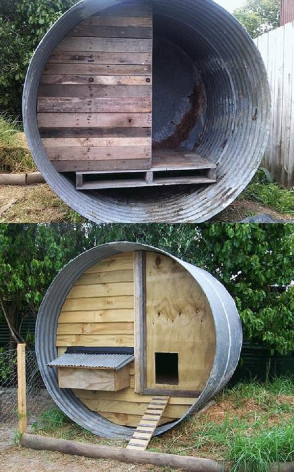 A Chicken Coop Made From a Water Tank