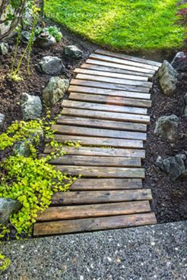 A Garden Path Made With Railway Sleepers