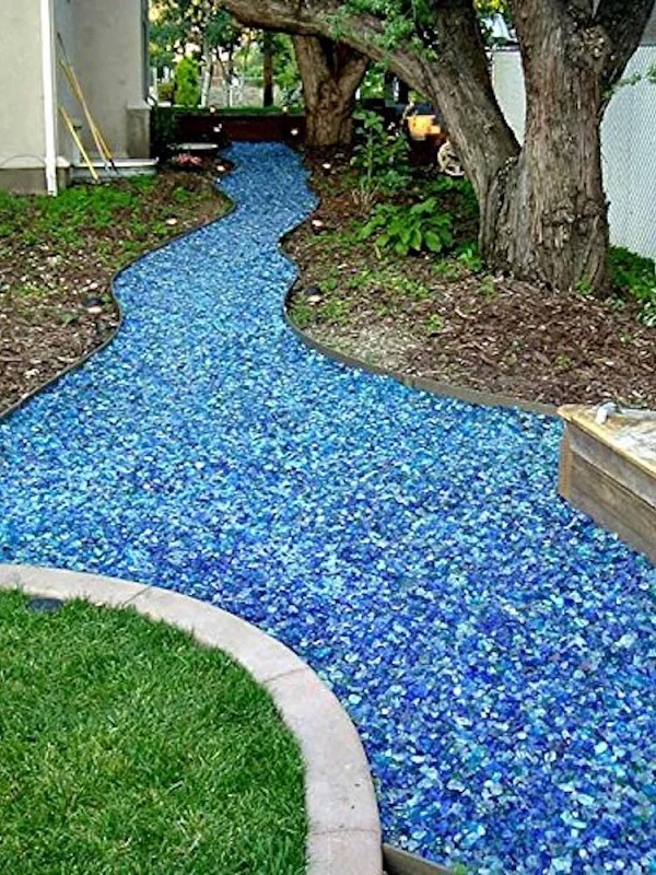 A Garden Path Made With Tumbled Glass
