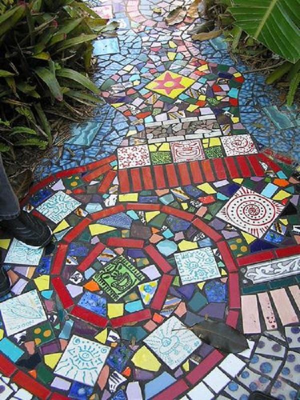 A Garden Path Made With Random Tiles