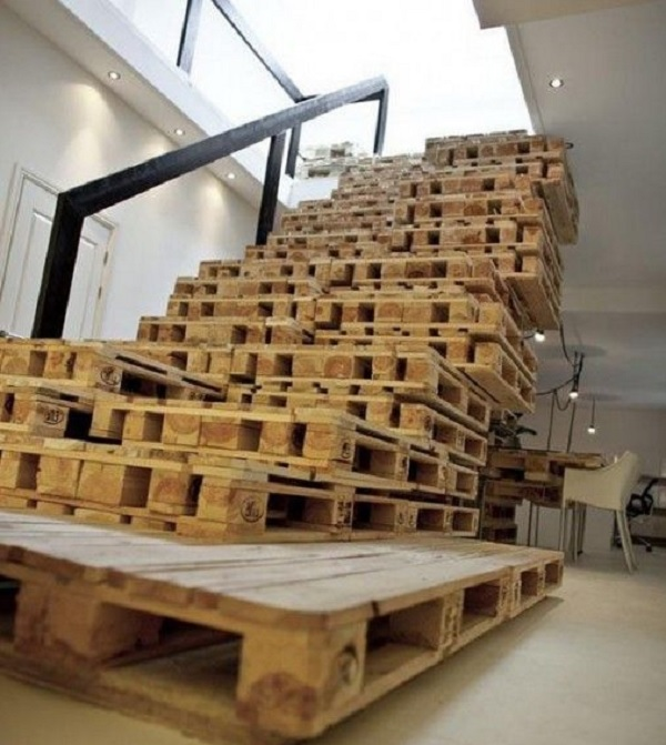 A Staircases Made From Wooden Pallets