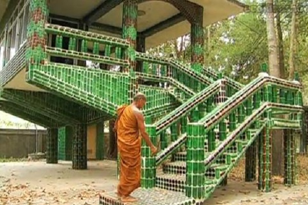 A Staircases Made From Bottles