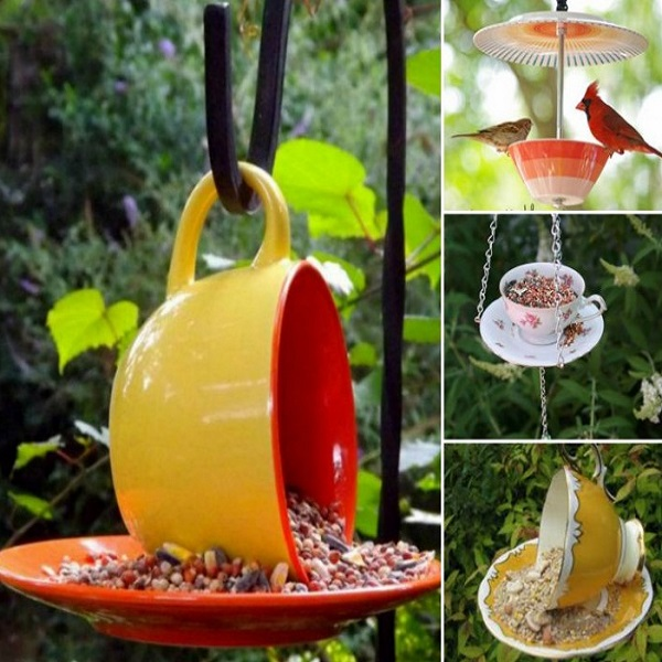 A Bird Feeder Made From a Tea Cup and Saucer